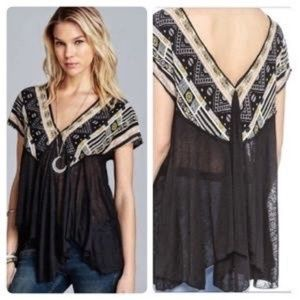 Free People Black We Are Golden Tunic Small